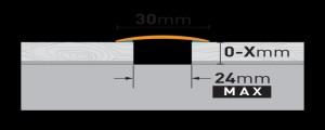 Profil trecere din aluminiu PR6K 0,9ml argintiu